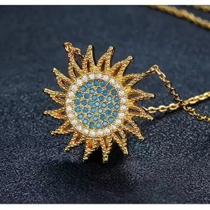 NEW Gold plated sun necklace chain womens